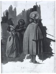 Staande man en twee staande vrouwen