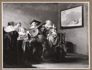 Elegant zingend gezelschap in een interieur