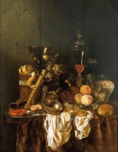 Stilleven met fruit, glas- en zilverwerk, horloge en blokfluit