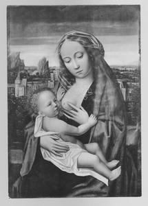 Maria met kind zittend voor een landschap