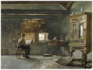 Het atelier, vermoedelijk Weissenbruchs zoon Willem, studerend naar een stilleven
