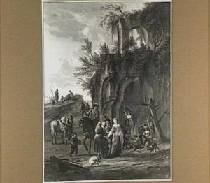 Zigeunerkamp in een bouwval met zigeunerin die een dame de hand leest