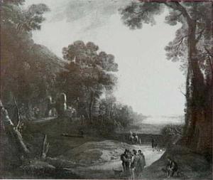 Converserende reizigers en andere figuren op een pad in een rivierdal