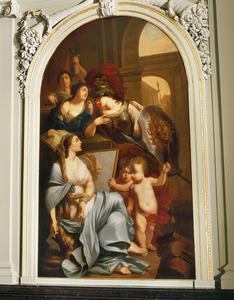 Minerva en drie allegorische vrouwenfiguren