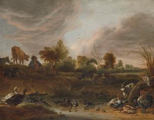 Landschap met een fluitspelende herder, vee en watervogels