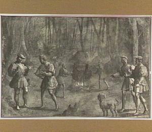 Jachtscène met keizer Maximiliaan I van Oostenrijk die de kop van een everzwijn ontvangt