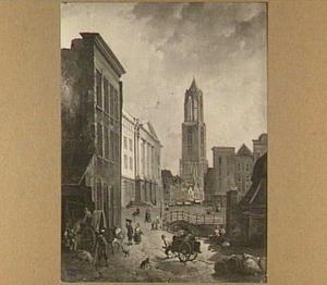 Gezicht op het stadhuis en de Domtoren te Utrecht