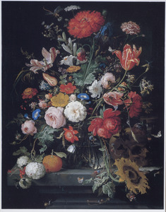 Boeket bloemen met een sinaasappel, een zandloper en een schedel