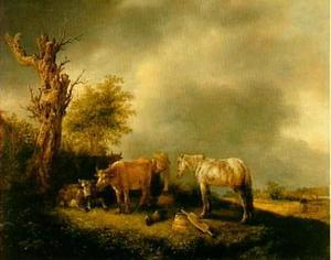 Melkmeisje met koeien en een paard
