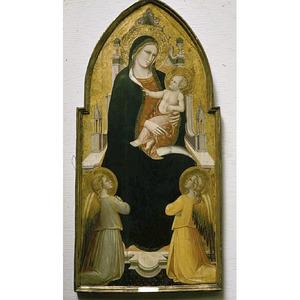 Tronende Maria met kind, omgeven door engelen