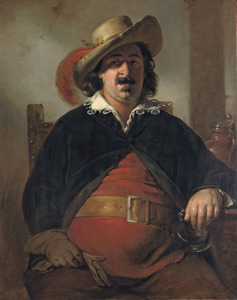 De schilder Ignaz Raffalt geportretteerd als Falstaff