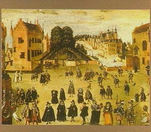 Gezicht op de Plaats, Lange Vijverberg en Hofvijver te Den Haag, met portretten Melanchton, Luther, Zwingli, Calvijn en prins Maurits