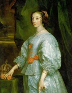 Portret van koningin Henriëtte Maria, staande naast een tafel waarop haar kroon