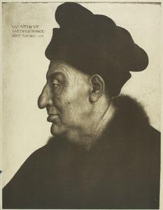 Portret van een oude man en profil