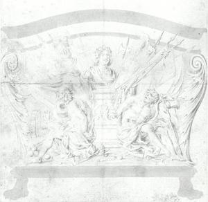 Ontwerp voor een sarcofaag met voorstelling van verheerlijking van een vorst