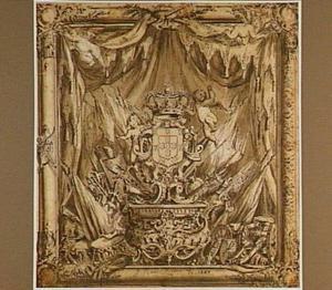 Het koninklijke wapen van Portugal in een omlijsting met militaire attributen