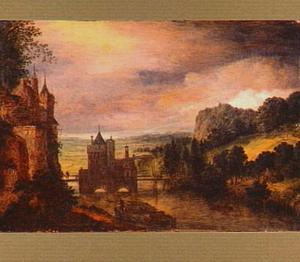 Gefantaseerd landschap met de voorbouw van de Utrechtse Wittevrouwenpoort, gezien vanuit het zuiden