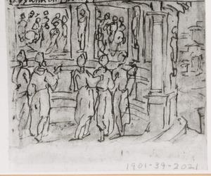 Apollonius van Tyana bewondert de reliëfs in de tempel van Taxila
