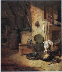 Keukeninterieur met boerenechtpaar