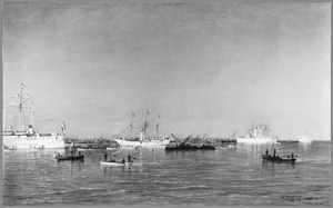 Vlootrevue in het Hollands Diep ter gelegenheid van de troonsbestijging van H.M. koningin Wilhelmina, 15 september 1898