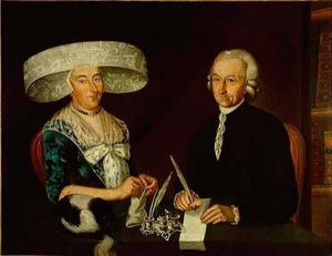 Dubbelportret van Syds Schaaff (1729-1800) en Trijntje Winia (1739-....)