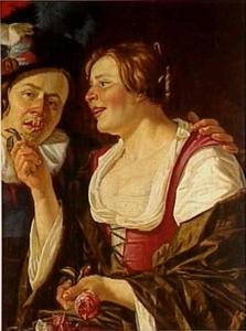 De Reuk: een jonge vrouw laat een jongeman aan een roos ruiken