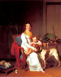 Jonge vrouw met kind en hond in een interieur