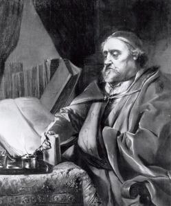 Portret van een geleerde zittend aan zijn tafel