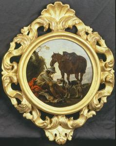 Rustende jager met paard en hond