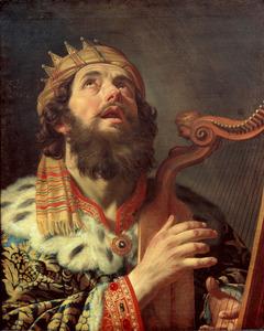 Koning David psalmodiërend