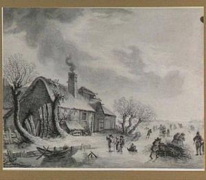 Winterlandschap met boerderij en figuren op het ijs