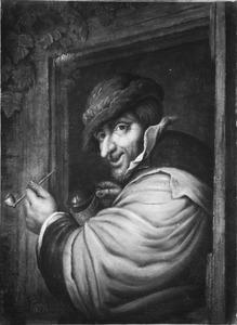 Een man met pijp en bierpul in een deuropening