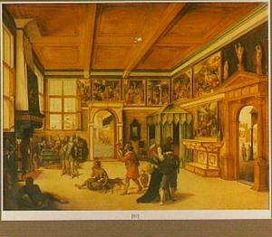 Interieur van een kunstkabinet waar een man omringd door de zeven doodzonden door Mercurius en Minerva wordt aangespoord de Werken van Barmhartigheid te betrachten