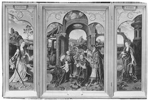 De H. Catharina (links); De aanbidding van de Wijzen (midden); De H. Barbara (rechts)