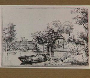 Riviergezicht met een roeiboot en een stenen brug