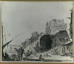 Italiaanse haven met ruïnes