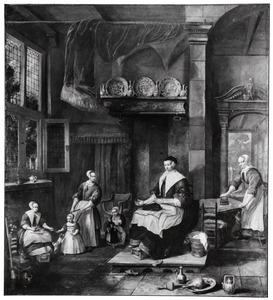 Interieur met een moeder, haar kinderen en een dienstmeid