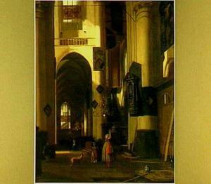 Kerkinterieur met motieven uit de Oude Kerk en de Nieuwe Kerk te Amsterdam