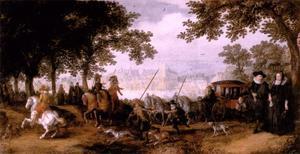 Gezicht op de Hofvijver en het stadhouderlijk kwartier te 's Gravenhage met een vertrekkend jachtgezelschap en op de voorgrond een dubbelportret van een echtpaar