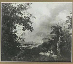 Duinlandschap met twee wandelaars op een weg