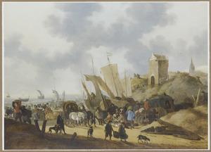Strandgezicht bij Scheveningen met visverkoop