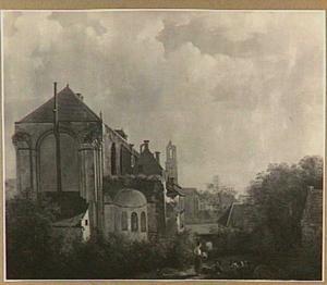 Gezicht op het koor der Mariakerk met op de achtergrond de Dom te Utrecht