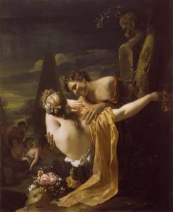 Jonge herder omarmt een herderin (de zomer)