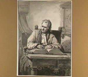 Zittende man met bijbel, aan een tafel