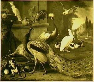 Dierstuk met pauwen, kaketoe, pluimvee, pelikaan en aapje voor een paleistuin