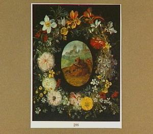 De H. Antonius van Padua, lezend in een wei, omringd door een bloemenkrans