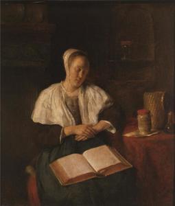 Slapende vrouw met opengeslagen boek op schoot