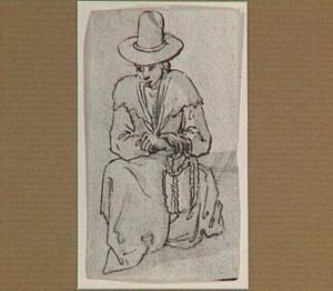 Zittende vrouw met hoed