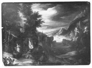 Landschap met de verzoeking van de H. Antonius