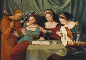 Musicerend gezelschap van drie vrouwen en een nar